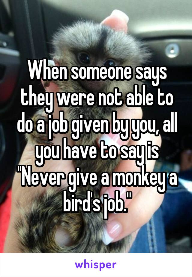 """When someone says they were not able to do a job given by you, all you have to say is """"Never give a monkey a bird's job."""""""