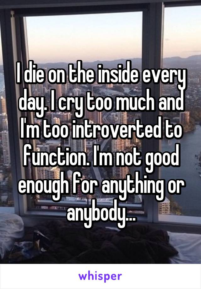 I die on the inside every day. I cry too much and I'm too introverted to function. I'm not good enough for anything or anybody...