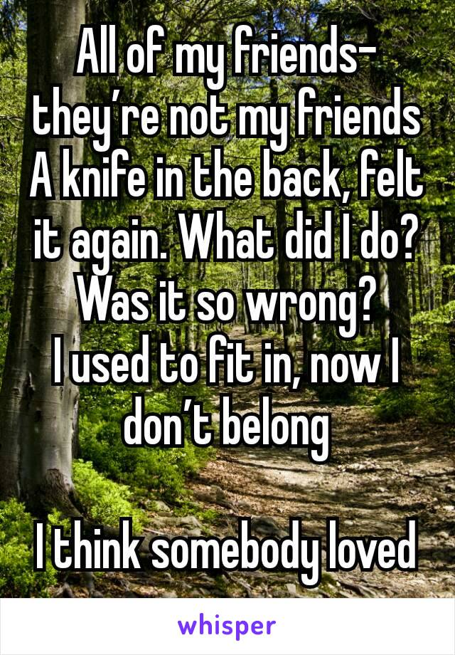 All of my friends- they're not my friends A knife in the back, felt it again. What did I do? Was it so wrong? I used to fit in, now I don't belong  I think somebody loved me once