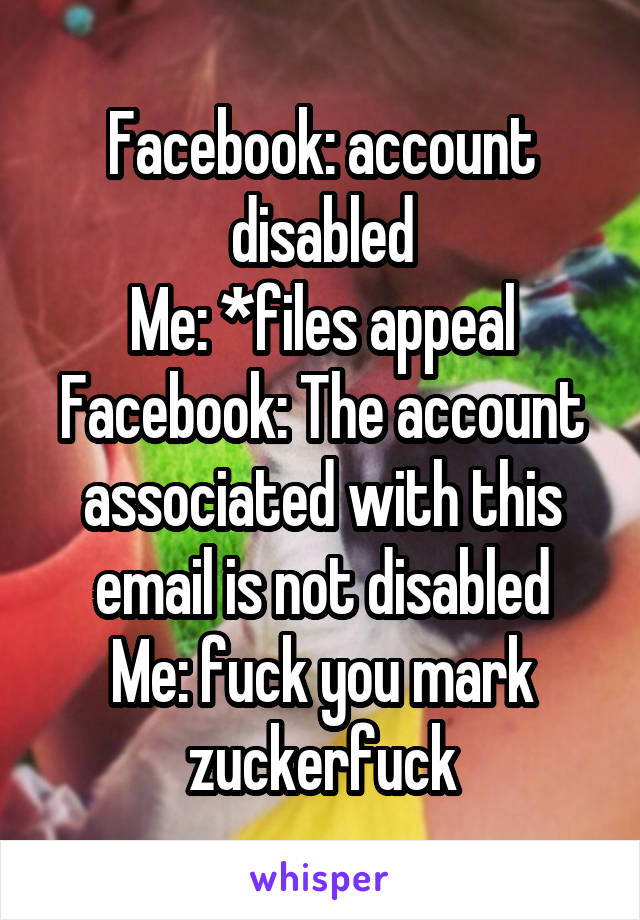 Facebook: account disabled Me: *files appeal Facebook: The account associated with this email is not disabled Me: fuck you mark zuckerfuck