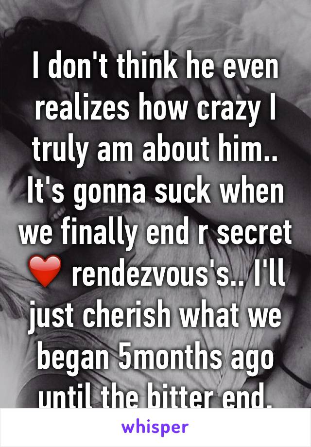 I don't think he even realizes how crazy I truly am about him.. It's gonna suck when we finally end r secret ❤️ rendezvous's.. I'll just cherish what we began 5months ago until the bitter end.