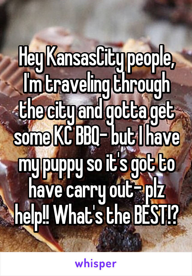 Hey KansasCity people, I'm traveling through the city and gotta get some KC BBQ- but I have my puppy so it's got to have carry out- plz help!! What's the BEST!?