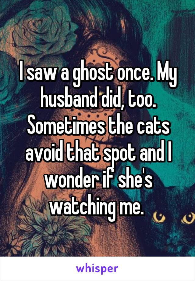 I saw a ghost once. My husband did, too. Sometimes the cats avoid that spot and I wonder if she's watching me.