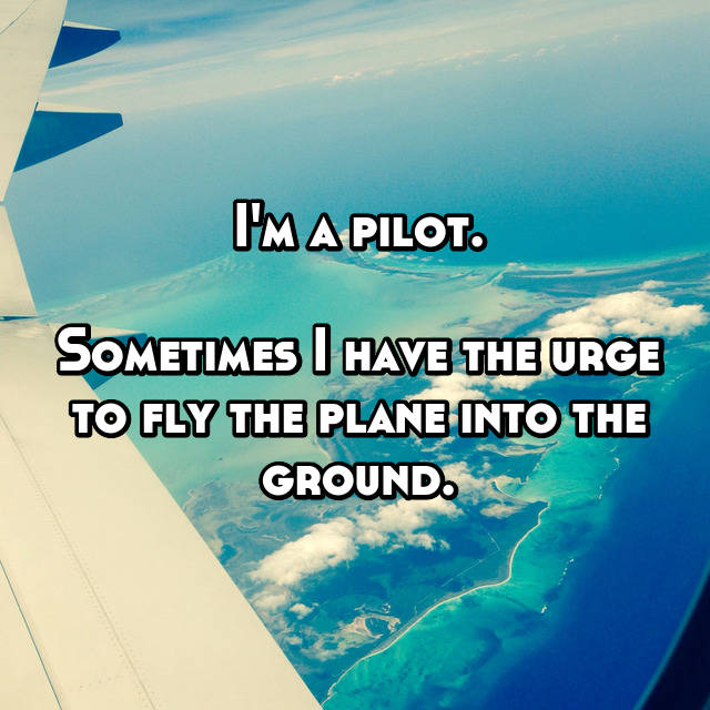 I'm a pilot.  Sometimes I have the urge to fly the plane into the ground.