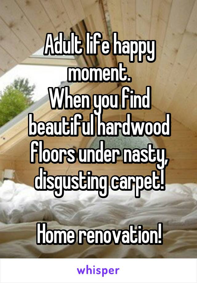 Adult life happy moment. When you find beautiful hardwood floors under nasty, disgusting carpet!  Home renovation!