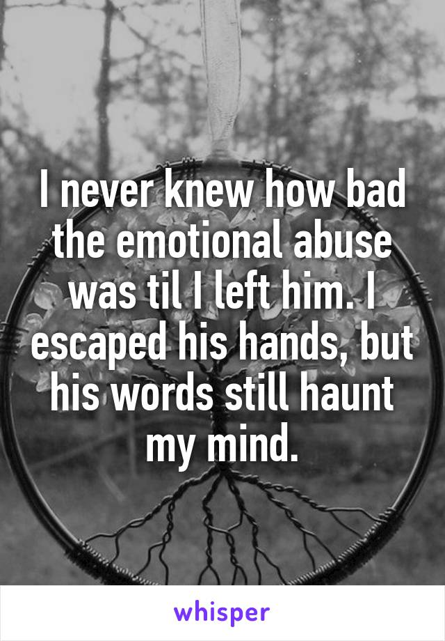 I never knew how bad the emotional abuse was til I left him. I escaped his hands, but his words still haunt my mind.