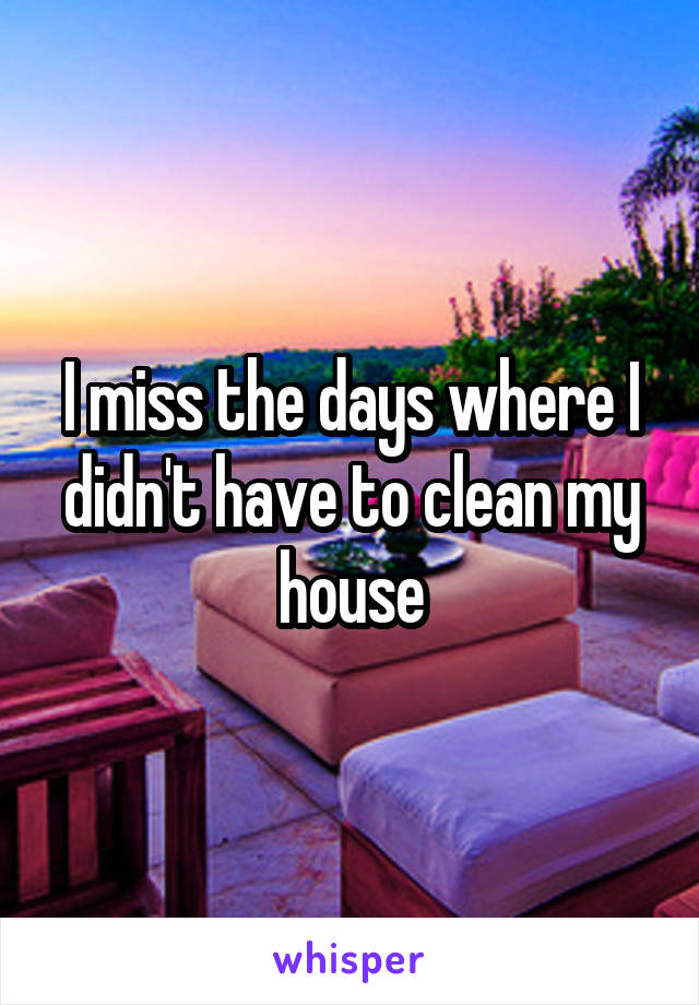 I miss the days where I didn't have to clean my house