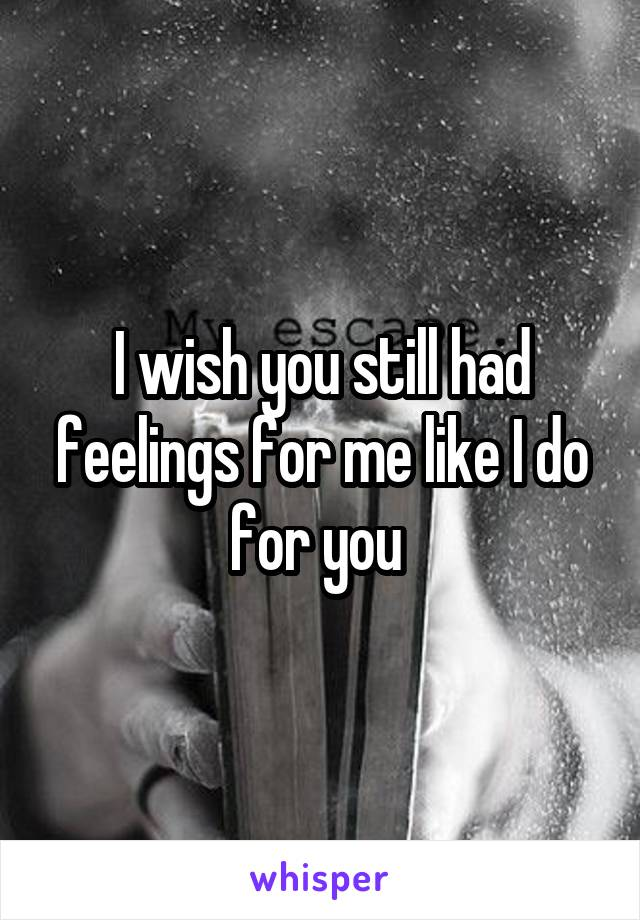 I wish you still had feelings for me like I do for you