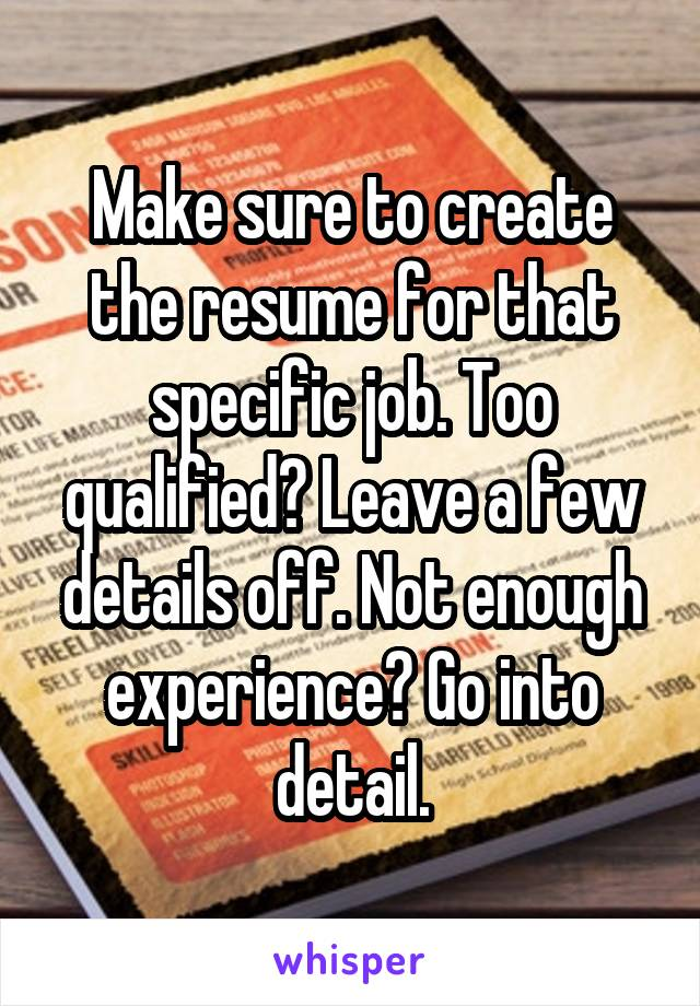 not enough experience for job
