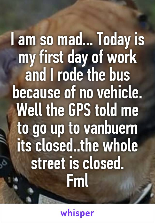 I am so mad... Today is my first day of work and I rode the bus because of no vehicle. Well the GPS told me to go up to vanbuern its closed..the whole street is closed. Fml