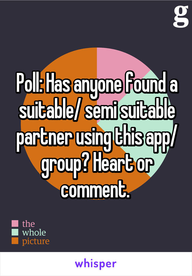 Poll: Has anyone found a suitable/ semi suitable partner using this app/ group? Heart or comment.