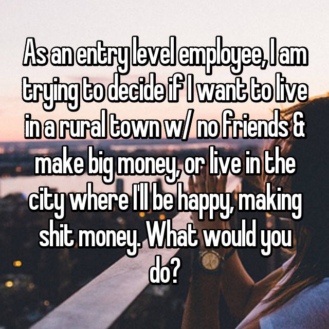 As an entry level employee, I am trying to decide if I want to live in a rural town w/ no friends & make big money, or live in the city where I'll be happy, making shit money. What would you do?