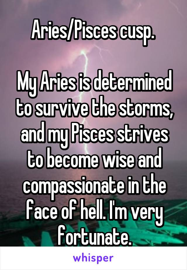 Aries/Pisces cusp.   My Aries is determined to survive the storms, and my Pisces strives to become wise and compassionate in the face of hell. I'm very fortunate.