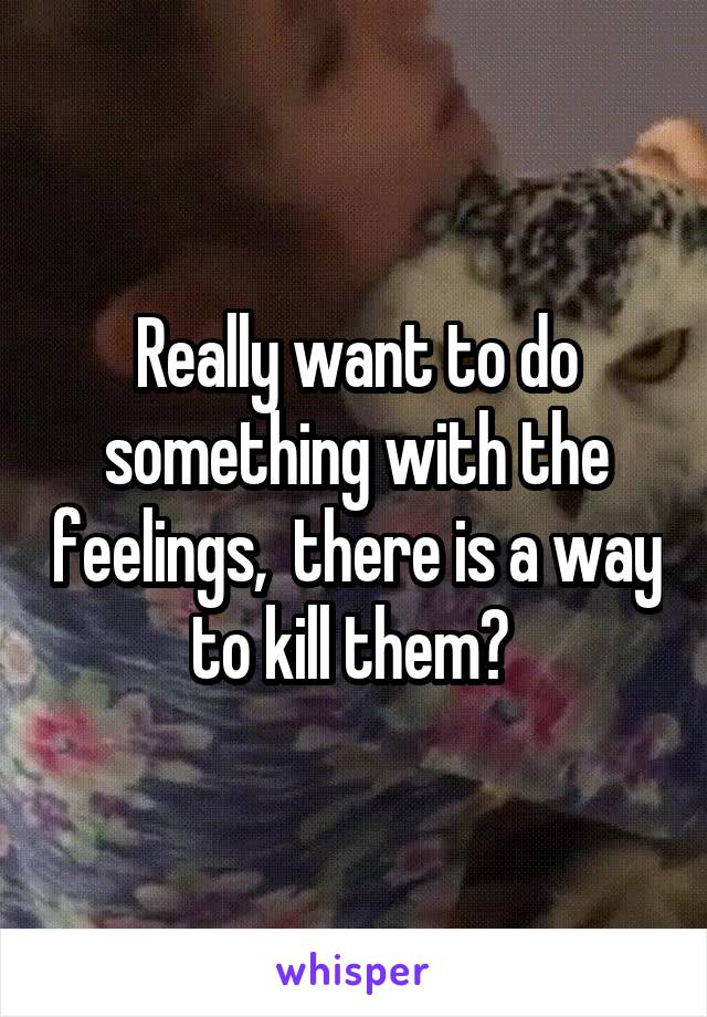 Really want to do something with the feelings,  there is a way to kill them?