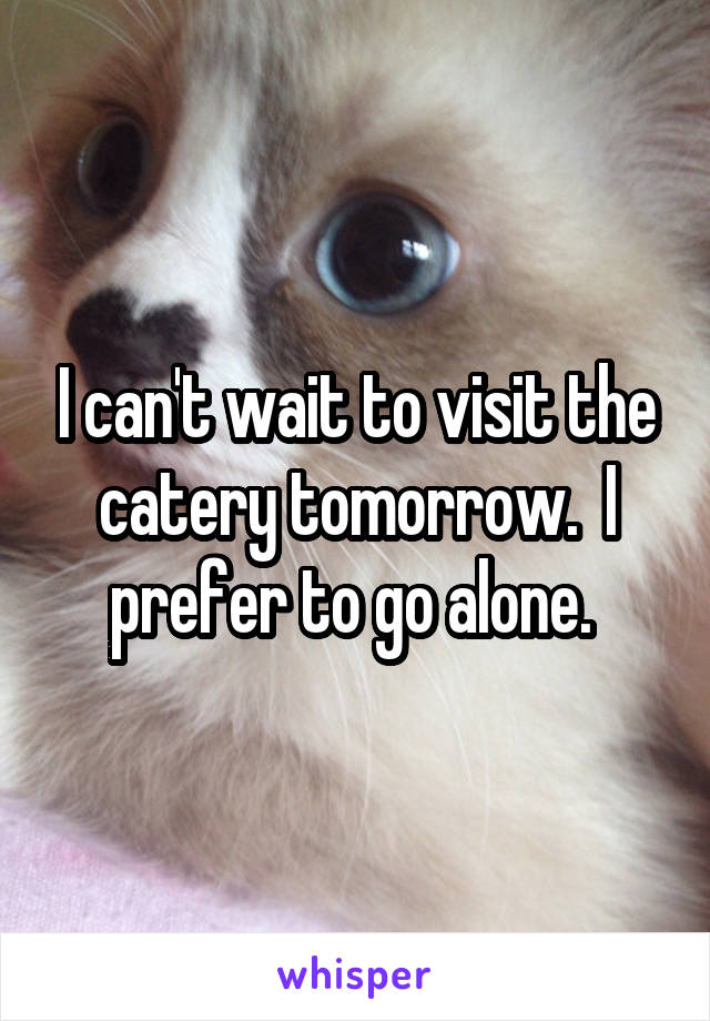 I can't wait to visit the catery tomorrow.  I prefer to go alone.