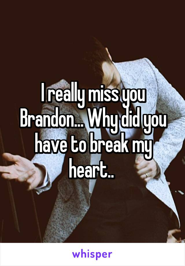 I really miss you Brandon... Why did you have to break my heart..