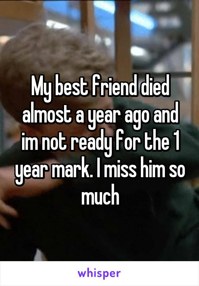 My best friend died almost a year ago and im not ready for the 1 year mark. I miss him so much