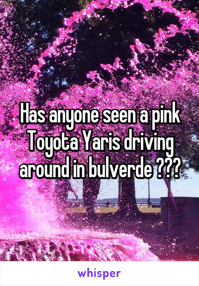 Has anyone seen a pink Toyota Yaris driving around in bulverde ???