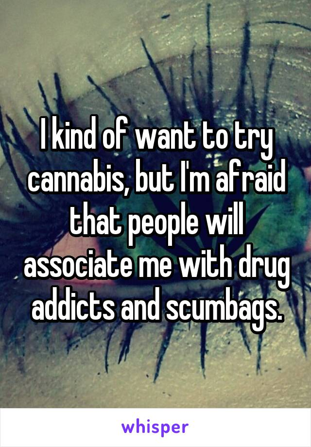 I kind of want to try cannabis, but I'm afraid that people will associate me with drug addicts and scumbags.