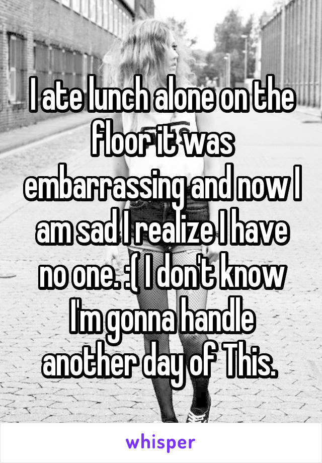 I ate lunch alone on the floor it was embarrassing and now I am sad I realize I have no one. :( I don't know I'm gonna handle another day of This.