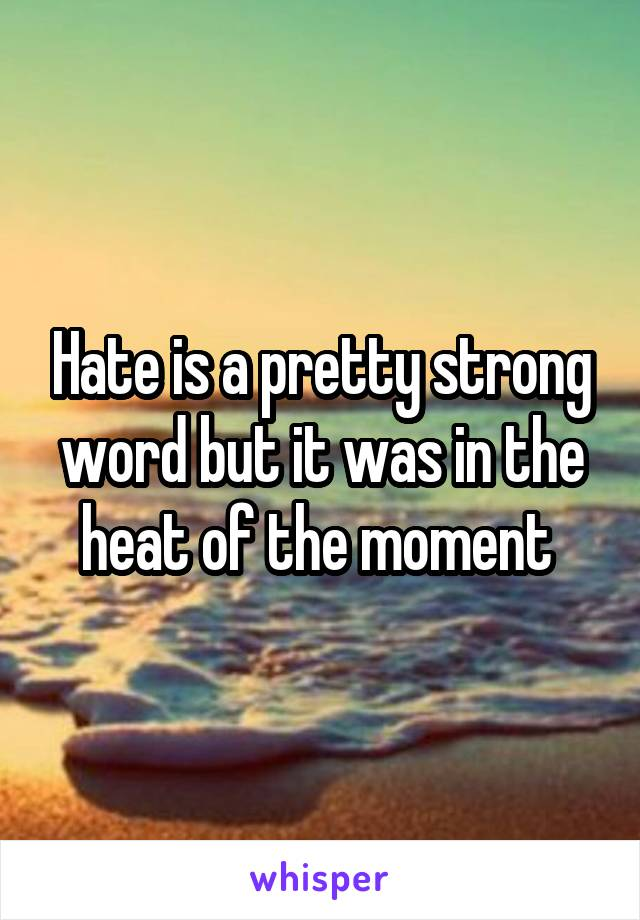 Hate is a pretty strong word but it was in the heat of the moment