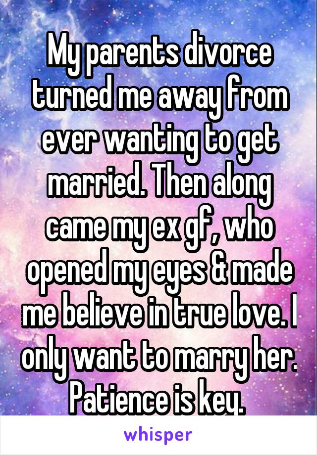 My parents divorce turned me away from ever wanting to get married. Then along came my ex gf, who opened my eyes & made me believe in true love. I only want to marry her. Patience is key.