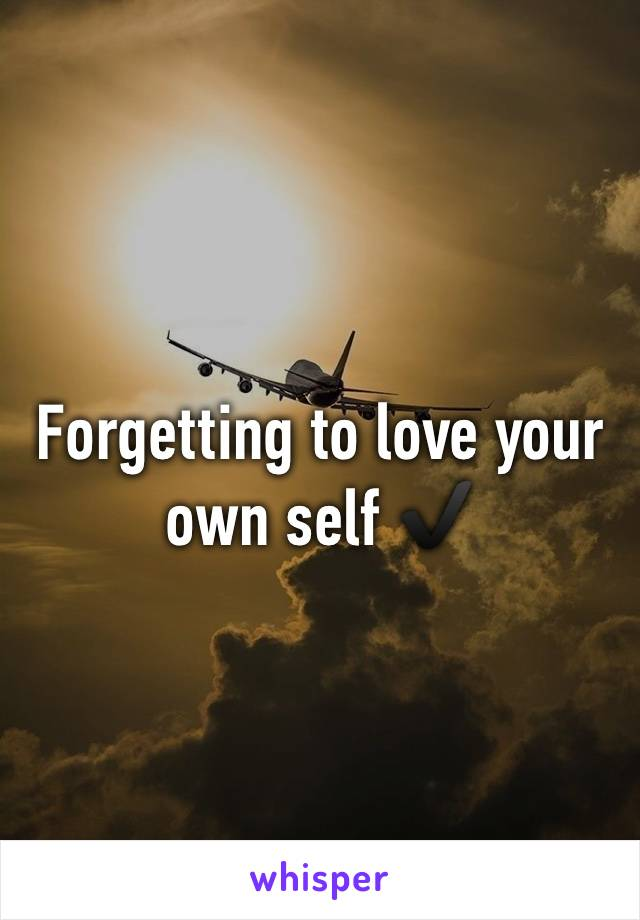 Forgetting to love your own self ✔️
