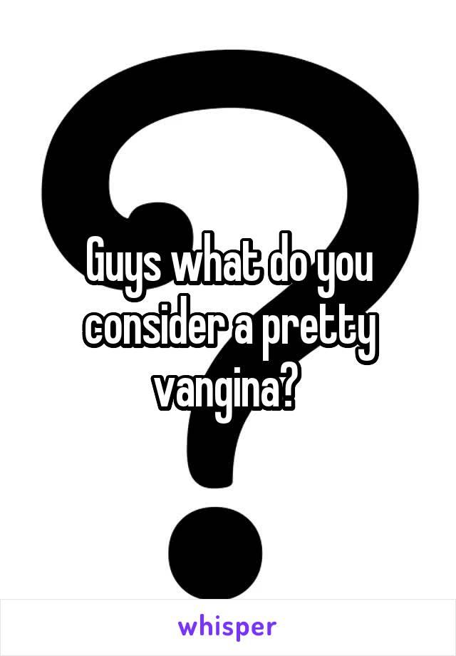 Guys what do you consider a pretty vangina?
