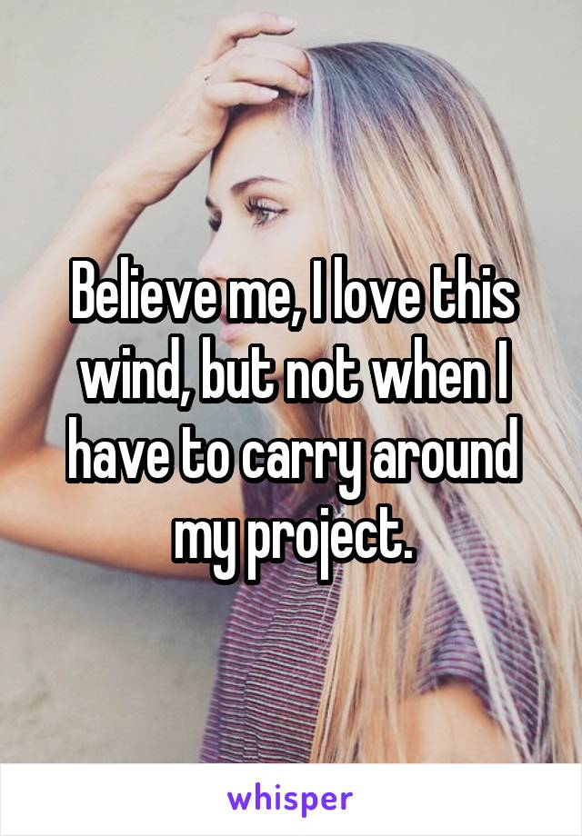 Believe me, I love this wind, but not when I have to carry around my project.