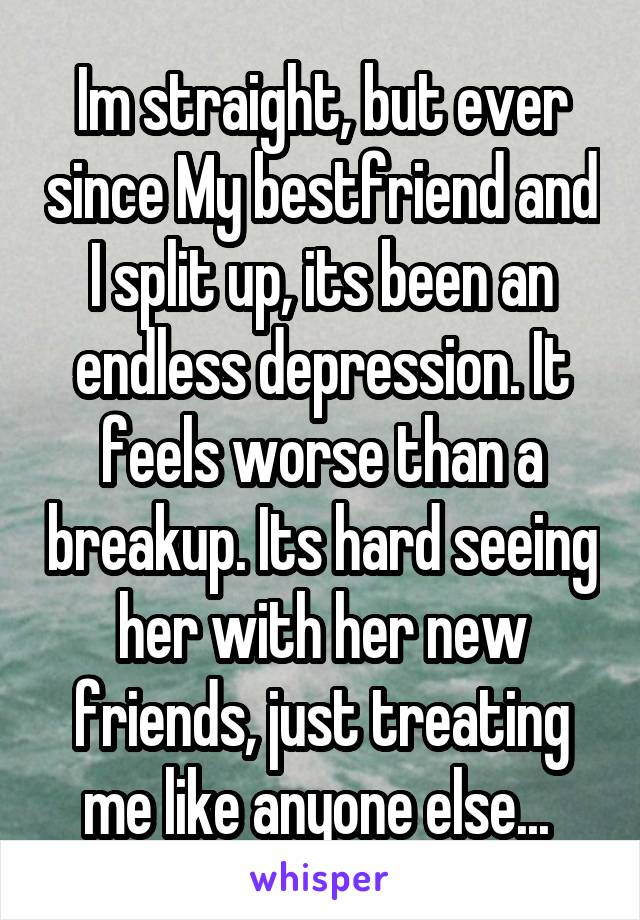 Im straight, but ever since My bestfriend and I split up, its been an endless depression. It feels worse than a breakup. Its hard seeing her with her new friends, just treating me like anyone else...