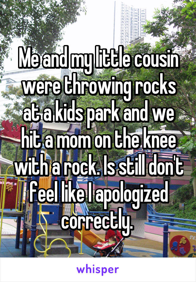 Me and my little cousin were throwing rocks at a kids park and we hit a mom on the knee with a rock. Is still don't feel like I apologized correctly.