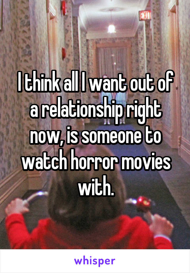 I think all I want out of a relationship right now, is someone to watch horror movies with.