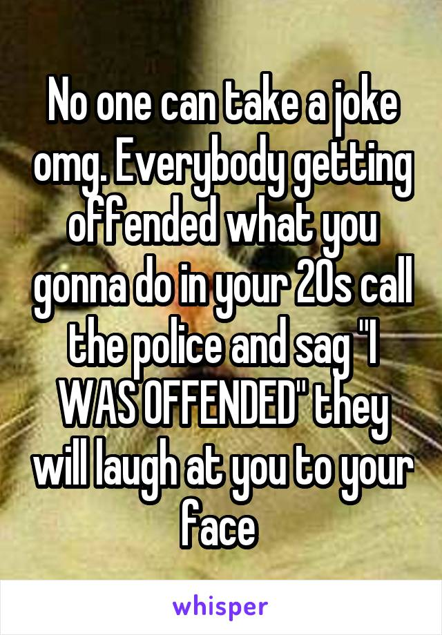 """No one can take a joke omg. Everybody getting offended what you gonna do in your 20s call the police and sag """"I WAS OFFENDED"""" they will laugh at you to your face"""