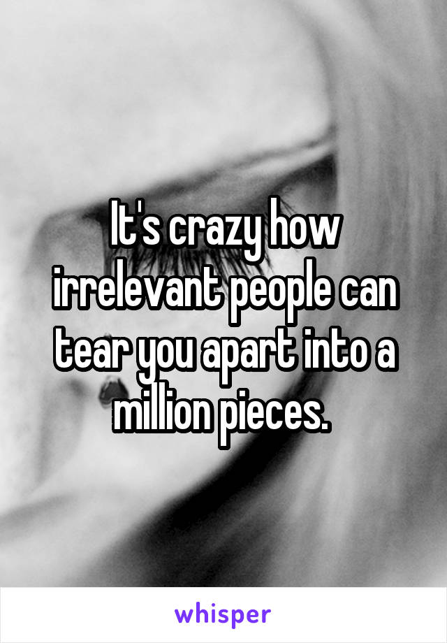 It's crazy how irrelevant people can tear you apart into a million pieces.