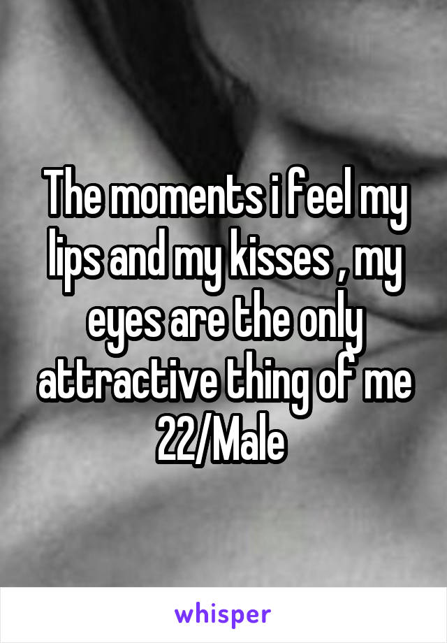 The moments i feel my lips and my kisses , my eyes are the only attractive thing of me 22/Male