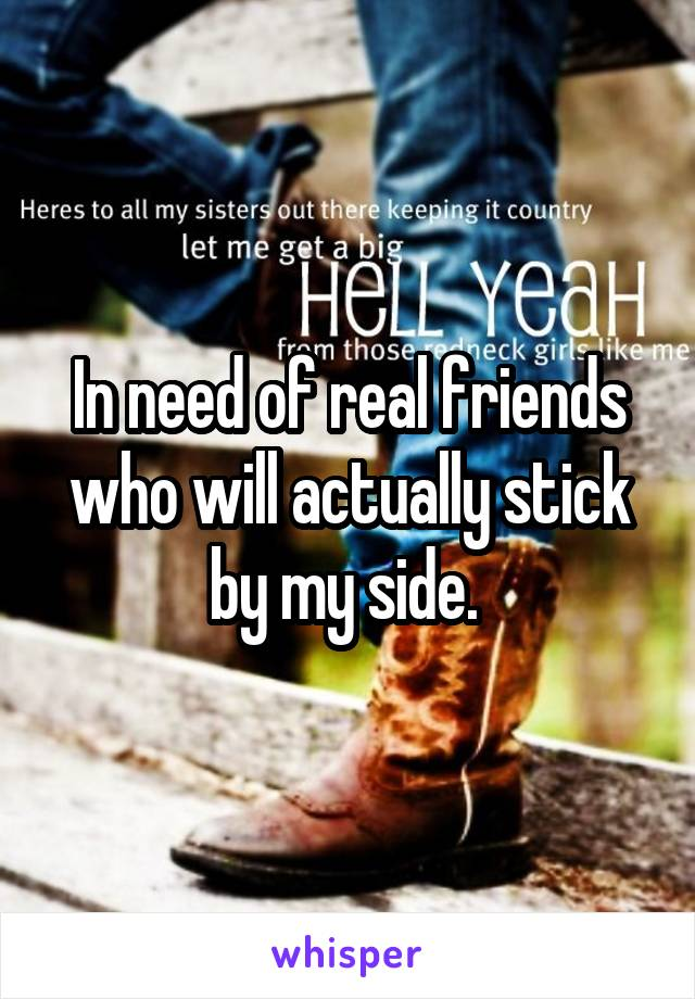 In need of real friends who will actually stick by my side.