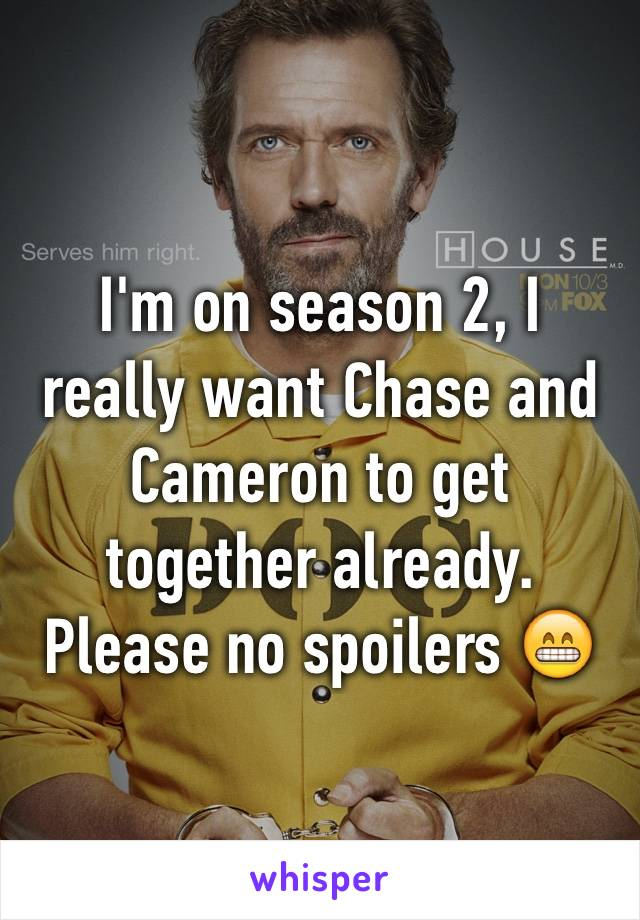 I'm on season 2, I really want Chase and Cameron to get together already.  Please no spoilers 😁