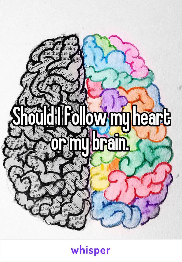 Should I follow my heart or my brain.
