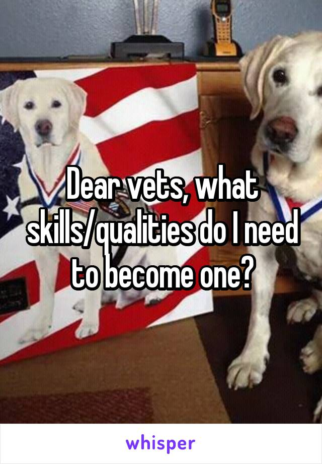 Dear vets, what skills/qualities do I need to become one?