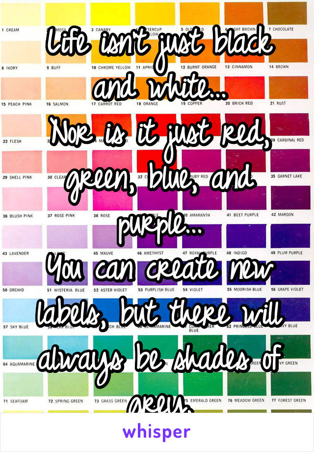 Life isn't just black and white... Nor is it just red, green, blue, and purple... You can create new labels, but there will always be shades of grey.
