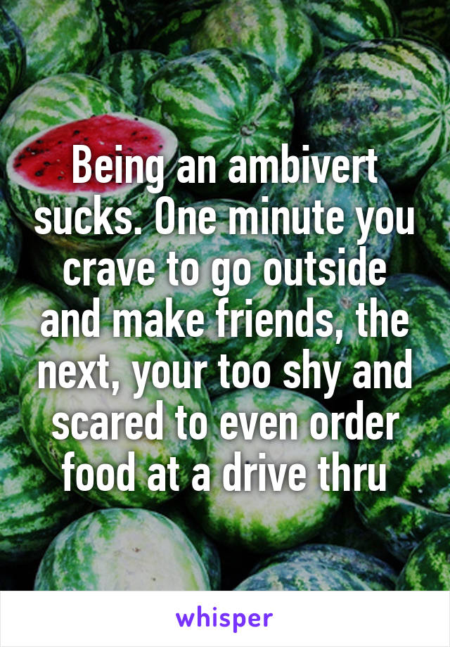 Being an ambivert sucks. One minute you crave to go outside and make friends, the next, your too shy and scared to even order food at a drive thru