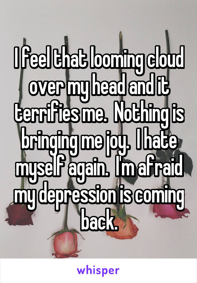 I feel that looming cloud over my head and it terrifies me.  Nothing is bringing me joy.  I hate myself again.  I'm afraid my depression is coming back.