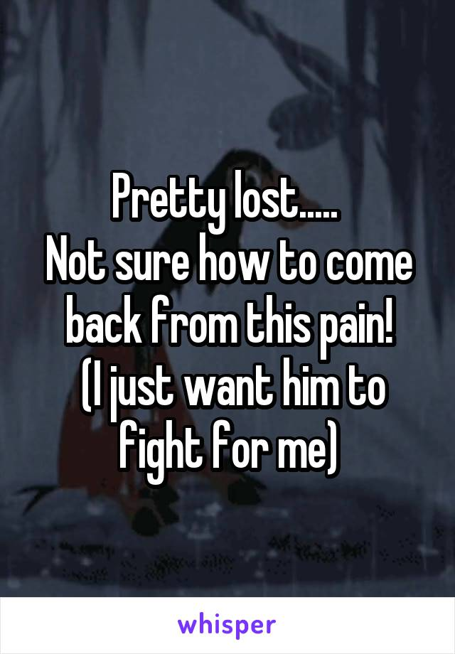 Pretty lost.....  Not sure how to come back from this pain!  (I just want him to fight for me)