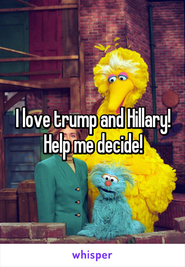 I love trump and Hillary! Help me decide!