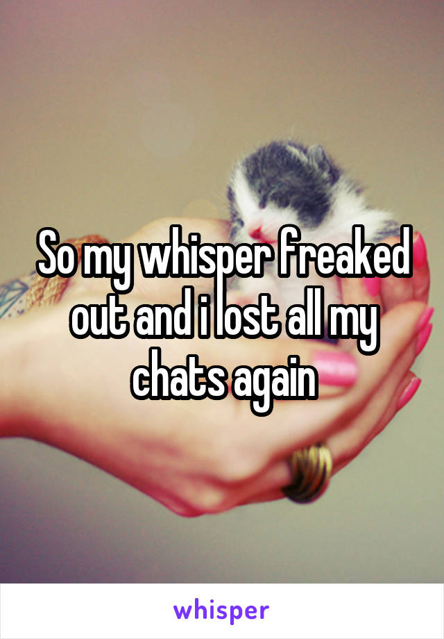 So my whisper freaked out and i lost all my chats again