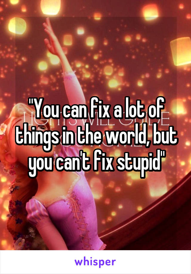 """You can fix a lot of things in the world, but you can't fix stupid"""