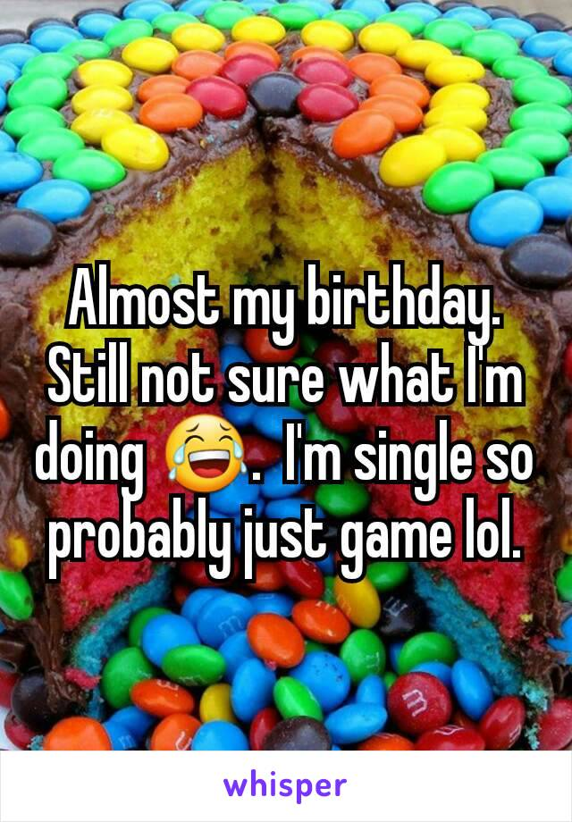 Almost my birthday.  Still not sure what I'm doing 😂.  I'm single so probably just game lol.