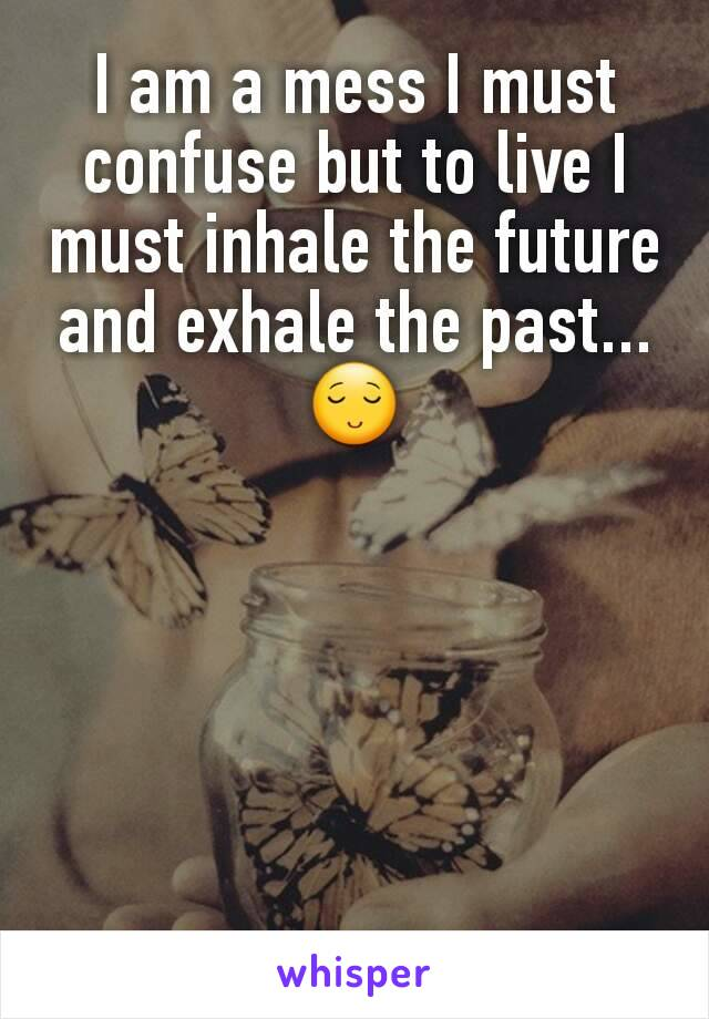 I am a mess I must confuse but to live I must inhale the future and exhale the past...  😌