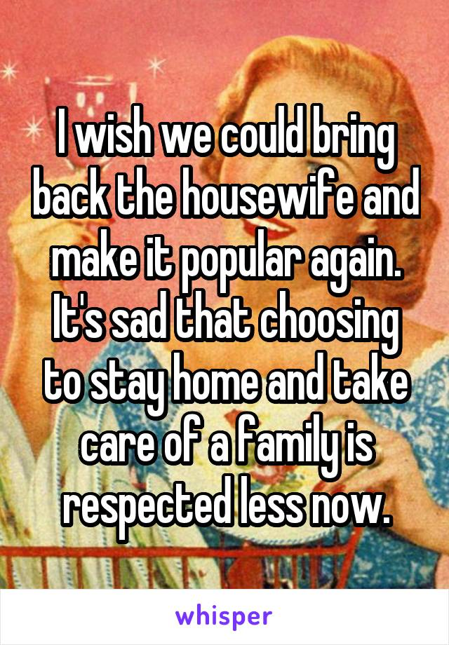I wish we could bring back the housewife and make it popular again. It's sad that choosing to stay home and take care of a family is respected less now.
