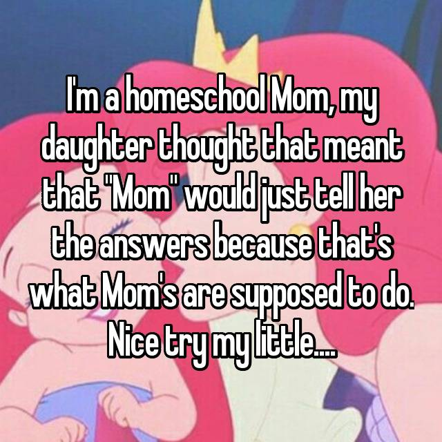 """I'm a homeschool Mom, my daughter thought that meant that """"Mom"""" would just tell her the answers because that's what Mom's are supposed to do. Nice try my little...."""